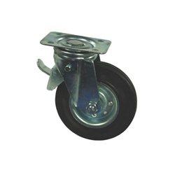 Koło metalowo gumowe skrętne z hamulcem , 100 mm Gopart