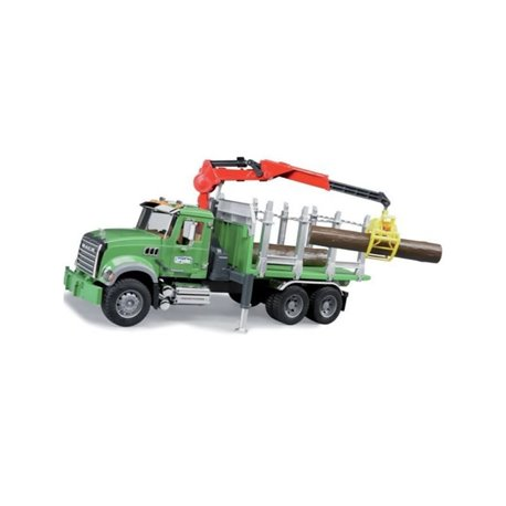 Zabawka ciężarówka do przewozu drewna z żurawiem Mack Granite Bruder  U02824