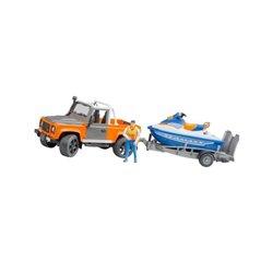 Land Rover z kierowcą, lawetą i skuterem wodnym Bruder  U02599